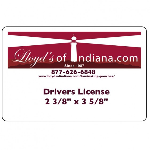 """Drivers License Laminating Pouches (2 3/8"""" x 3 5/8"""") (60mm x 92mm)"""